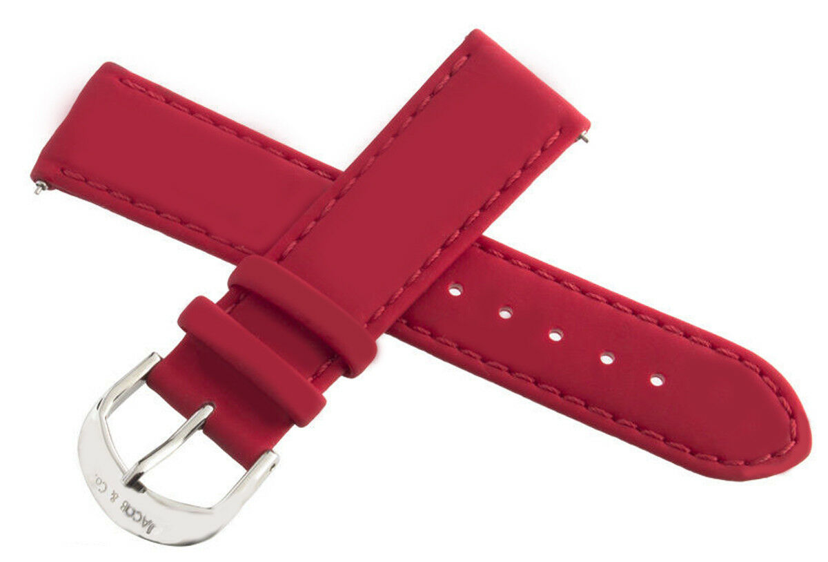 Image 1 - Jacob & Co. 20mm Red Polyurethane Rubber Band Strap with Silver tone Clasp Watch