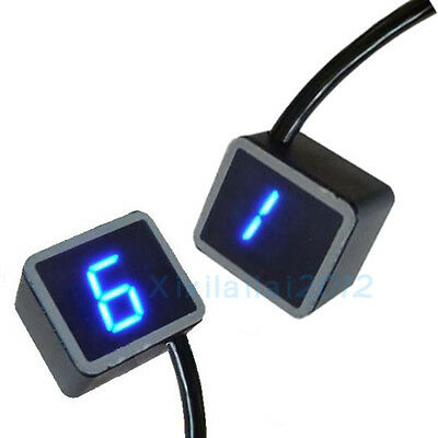 LED Digital Gear Indicator Motorcycle Display Shift Lever Sensor Blue Light Hot