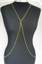 STUNNING GOLD CROSS BODY CHAIN, BELLY, HARNESS SLAVE METAL CHAIN NECKLACE ,