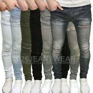 Soulstar-Men-039-s-Designer-Branded-Stretch-Skinny-Fit-Ripped-Jeans-BNWT
