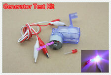 Hand crank generator kit gear motor+LED+alligator clips electricity test dynamo