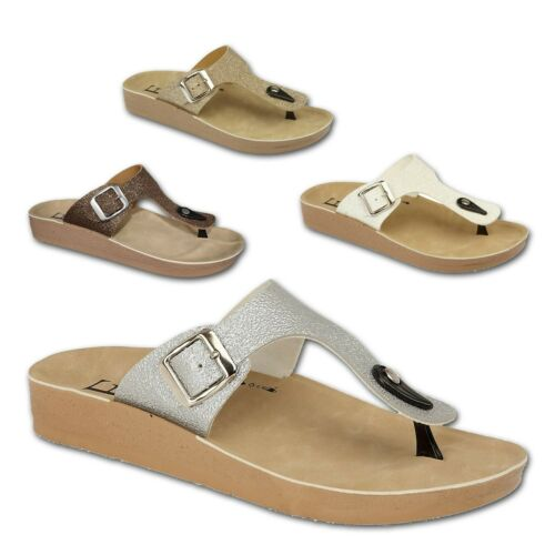 Ladies Womens Flat Glittery Slip On Summer Beach Mules Footbed Sandals Shoe Size