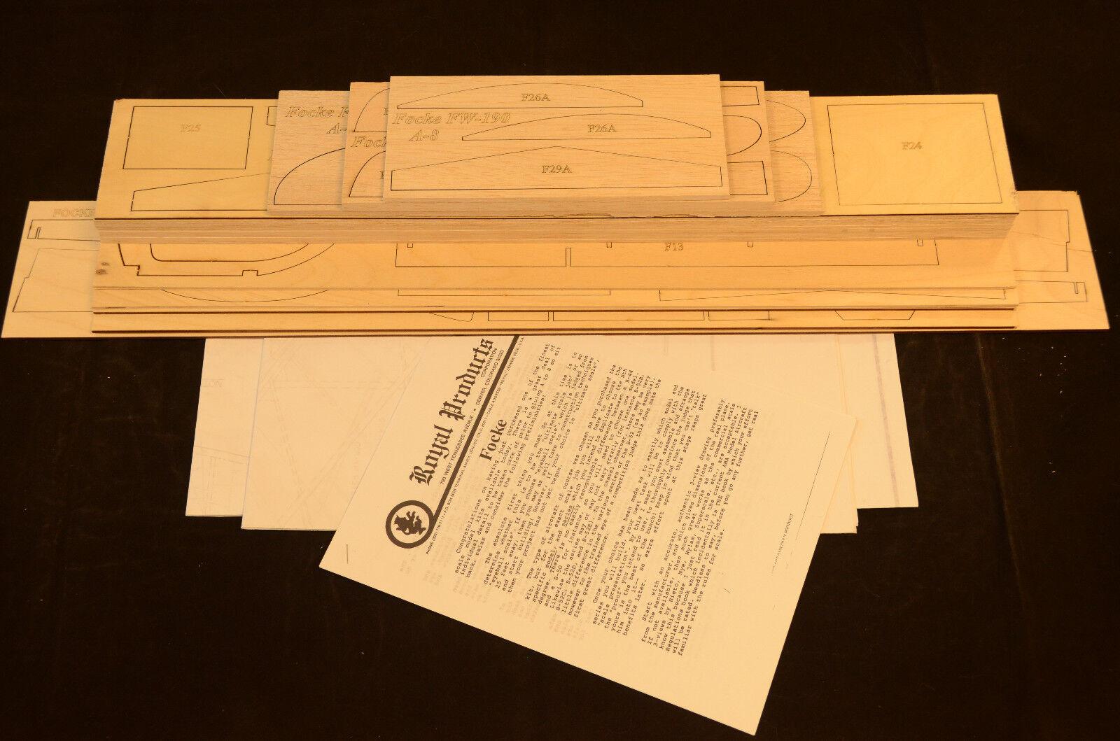 Royal 1/7 escala FOCKE WULF FW-190 A8 Laser Corte corto Kit, planes & Instr. 60.5WS