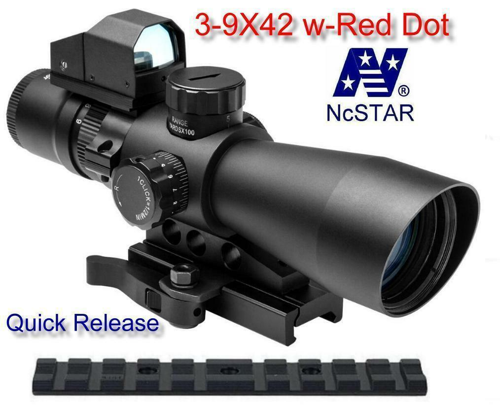 NcStar Mark III Tactical Mil-Dot 3-9X42 w Red Dot Sight fits Ruger 10 22