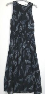 Marks-Spencer-una-Feather-Print-amp-Gasa-ocasion-Per-Vestido-UK-Size-8-24