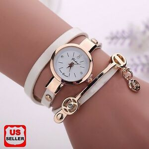 New-Women-039-s-Fashion-Ladies-Faux-Leather-Rhinestone-Analog-Quartz-Wrist-Watch-AK