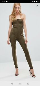 3930236e3f2 Na Na   Asos Tall Green Suede Effect Bandeau Jumpsuit - Size 8 ...