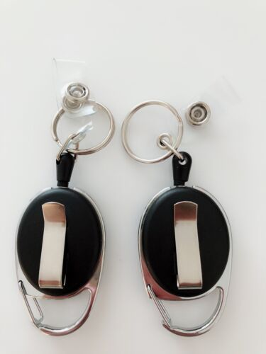 2X Retractable Badge Holder Reel Swipe Card Security ID Pull Key Ring Tag Clip