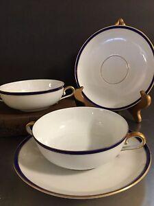 Vintage Rosenthal China Bleu Royal Boullion Cups Saucers Set 2 Bavaria Gold Trim