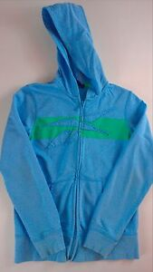 Reebok-Hoodie-Track-Jacket-Youth-Medium-Girls-Cotton-Fitness-Blue-Green-Full-Zip