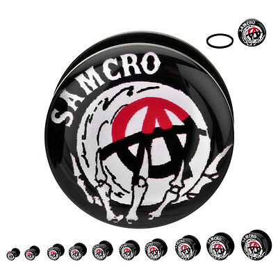 Sons Of Anarchy Samcro Symbol Body Jewelry Acrylic Plugs Pick 2G-1""