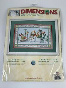 Dimensions-Counted-Cross-Stitch-Kit-Snow-Family-Christmas-8760-Donna-Rice-Sealed