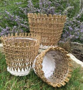 Set of 3 Rustic Moroccan Style Woven Seagrass Lined Plant Herb Flower Pot Basket
