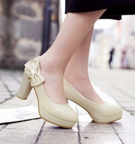 Womens High Heels Chunky Platform Bowknot Rhinestones Round Toe Pumps Us Sz New