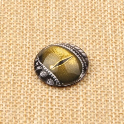 10 Lizard Eye Dragon Cabochons Mixed Round Glass Cabochon Flat Back 10mm 20mm UK