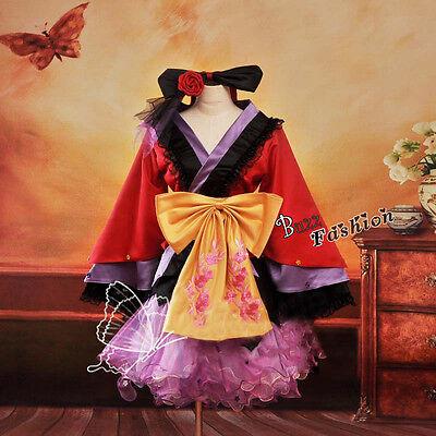 PROJECT DIVA2 Kimono Lolita Cosplay Gothic Kostüm Kleid Retro Palast Frau Dress
