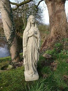 Image Is Loading STONE GARDEN VIRGIN MARY FIGURE RELIGIOUS LADY STATUE