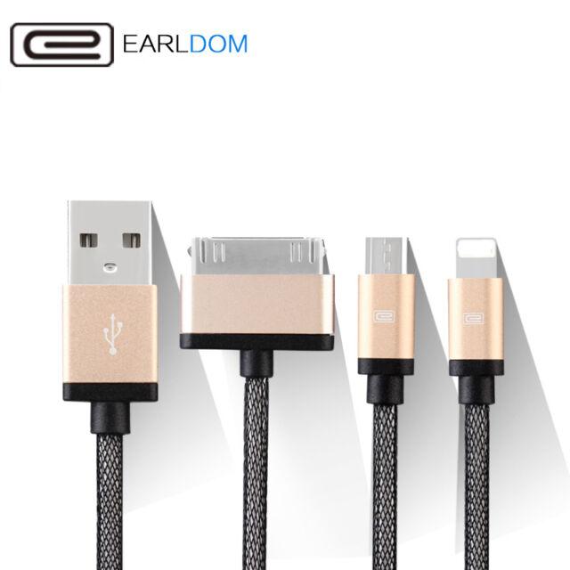 3 en 1 USB Chargeur Câble Adaptateur Iphone 4 5 6 7 8+ Samsung 8 Broches 30 Miro