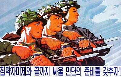 "North KOREA Anti-American Propaganda Poster Print /""Korea/'s Nuclear Bomb/"" A3+"