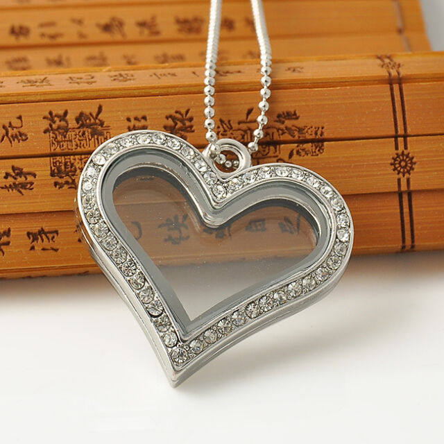 New Floating Charms Locket Crystal Heart Glass Pendant Living Memory Necklace