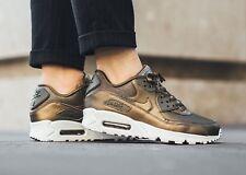 Women's Nike Air Max 90 Premium Running Shoes Metallic Field