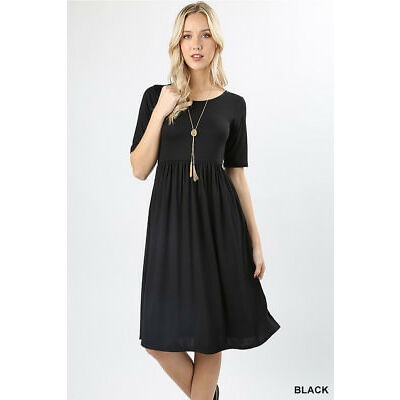 1X 2X 3X Plus Casual A-Line Dress Short Sleeve Long Knee Length High Waist Women