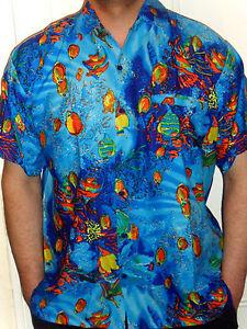 Mens blue tropical fish under the sea aquarium hawaiian for Fish hawaiian shirt