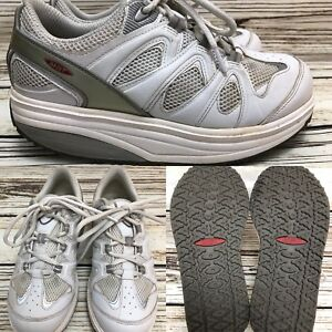 5cf7f42afdc1 Womens MBT 400167-16 White Leather Toning Fitness Walking Shoes SIZE ...