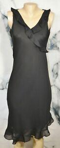DONNA RICCO Black Sleeveless Dress 8 Asymmetrical Ruffle Neckline and Hem Lined