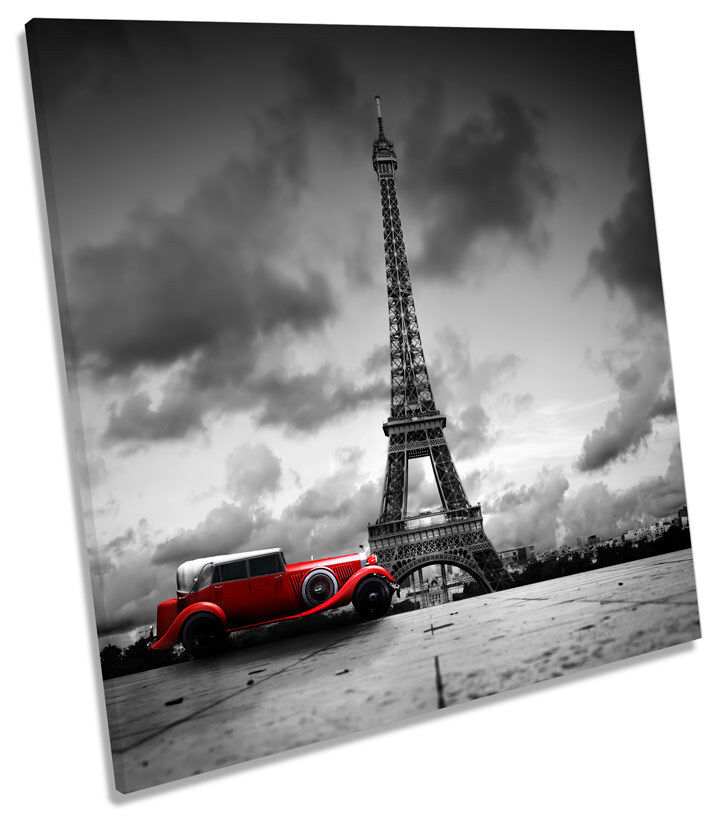 Paris Eiffel Tower Vintage Car SQUARE CANVAS Wand Kunst Bild Drucken
