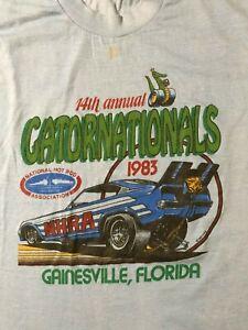 Vintage-80s-1983-Gatornationals-NHRA-Drag-Racing-XL-Screen-Stars-T-Shirt