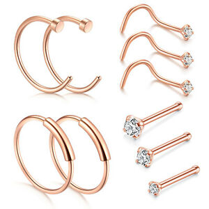 10PCS-Surgical-Steel-Rose-Gold-Nose-Hoop-Ring-Nose-Screw-Bone-Studs-Piercing