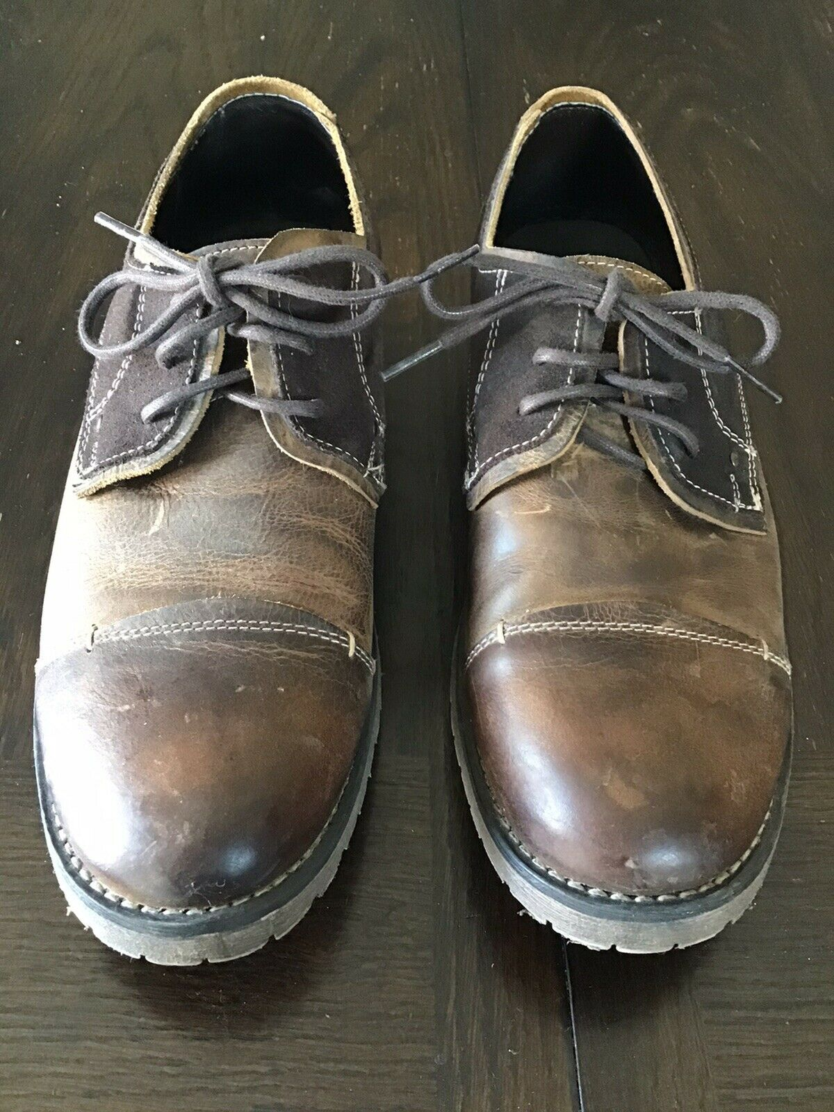 Bed Stu Men's 10 1/2 M Shoes Brown Leather Suede Oxford Lace Up
