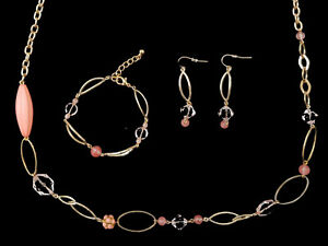 Pink-and-Gold-Matching-Necklace-Earring-amp-Bracelet-Set-Summer-Costume-Jewellery