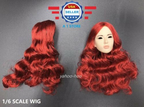 1//6 scale Curly RED Hair Wig for Female Head Sculpt Doll Accessory
