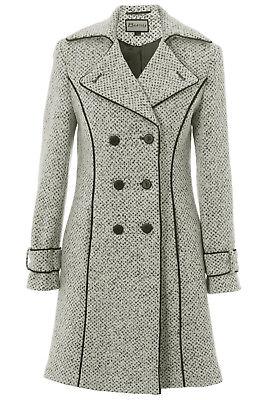 Busy Ladies 3/4 White and Black Tweed Wool Blend Coat