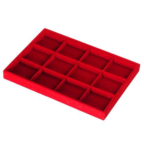 Pantalla de joyería de terciopelo rojo 12 rejillas Bandeja Organizador Almacenamiento escaparate