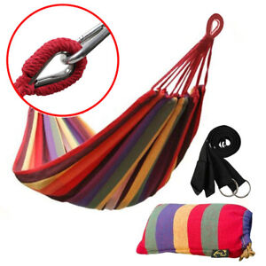 Cotton-Rope-Hanging-Hammock-Swing-Camping-Canvas-Bed-w-Heavy-Duty-Strap-amp-Hook