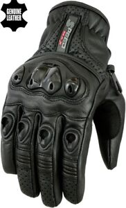 Homme-Extra-Joint-Protection-Ventile-Court-Moto-Moto-Gants-Cuir