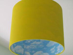 New handmade bright yellow sky blue cloud lampshade lightshade image is loading new handmade bright yellow sky blue cloud lampshade aloadofball Gallery