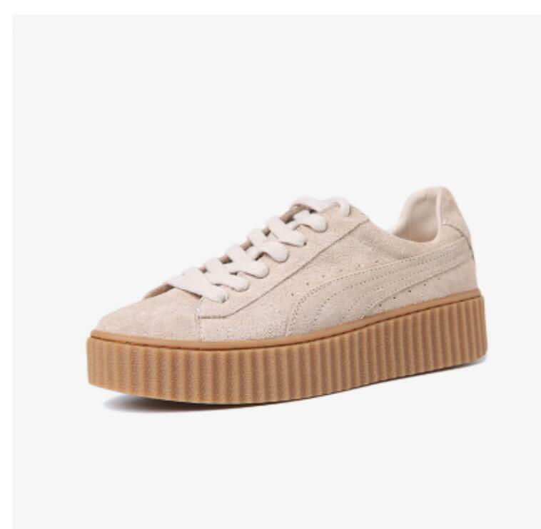 Womens Genuine Suede Leather Sport Platform Trainer Creepers Skate Running Shoes