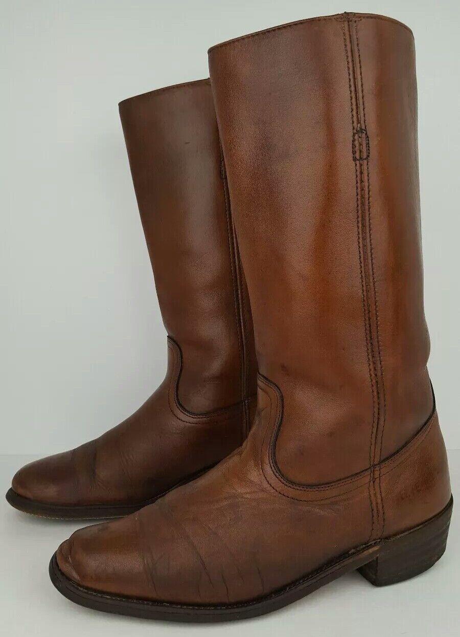 Size 6D Black Leather Harness Detail Square Toe Mid Calf Moto Boots 764 B21E