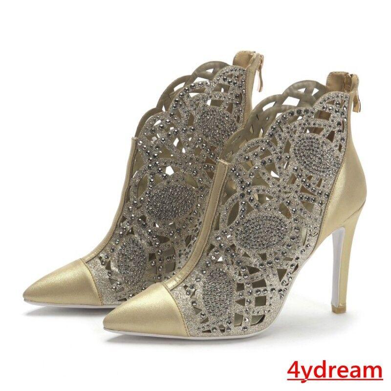 Señoras Oro/Plata Aguja Zapatos Puntera huecos Puntiaguda huecos Puntera nuevos Zapatos de noche de la bomba e0edb7