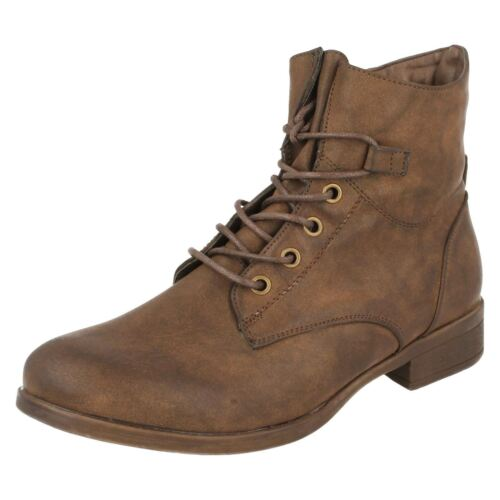 Ladies Spot On Lace Up /'Ankle Boots/'