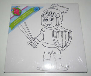 Kit Peinture Enfant Toile + Pinceau + Peinture 20x20 Cm Chevalier Iqfwhawq-07164541-865086357