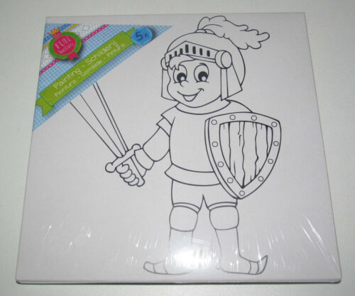 Kit Peinture Enfant Toile + Pinceau + Peinture 20x20 cm Chevalier