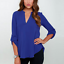 thumbnail 5 - Women's Summer Loose V Neck Chiffon Long Sleeve Blouse Casual Collar Shirt Tops