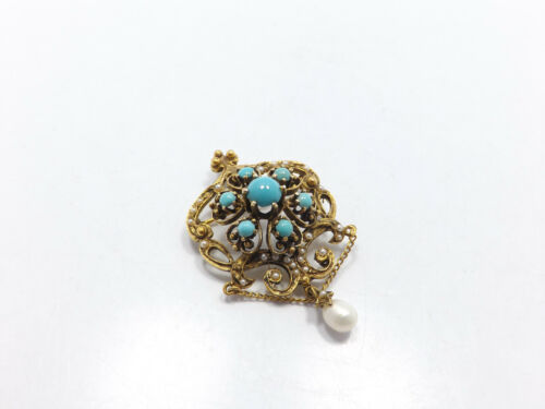 Vintage 14k Gold Persian Turquoise Seed Pearl Orn… - image 1