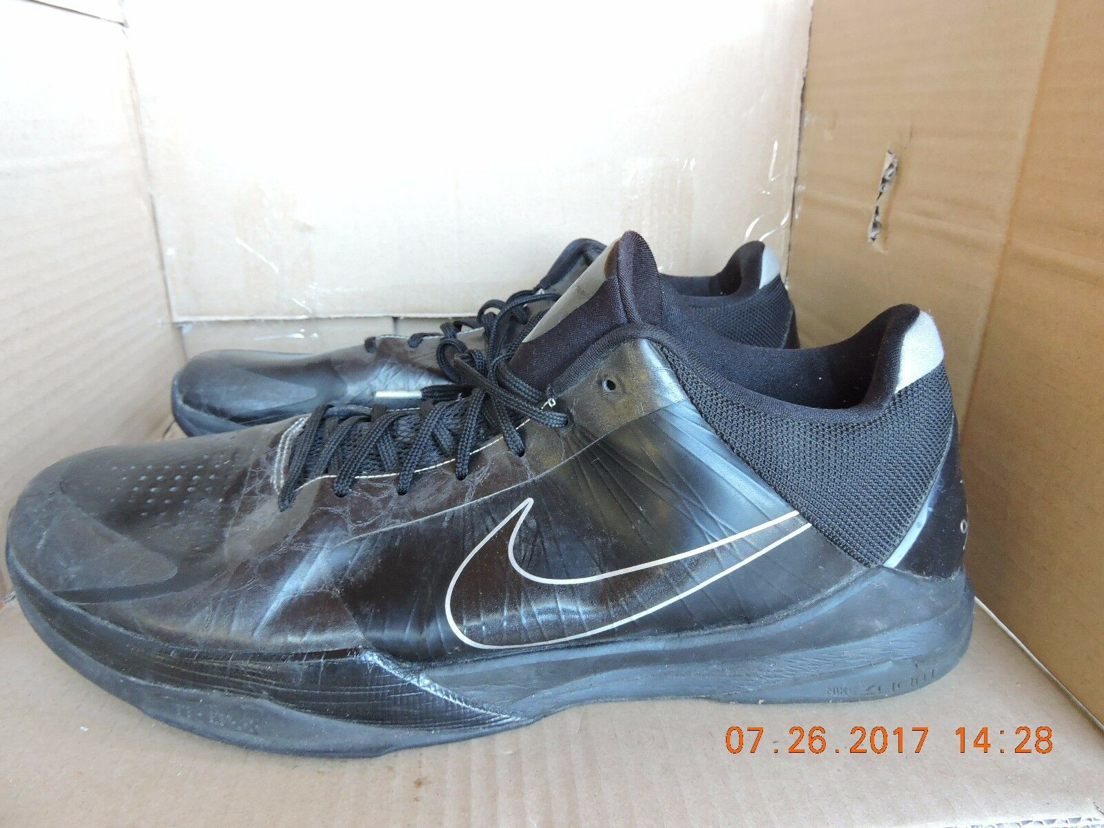 Nike Zoom Kobe V 5 Blackout 386429-003 men's black basketball shoes size 17 Seasonal clearance sale