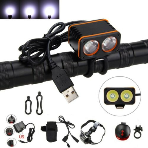 10000LM 2x XM-L T6 cool White LED USB Cycling Bicycle Bike Light Head Front Lamp